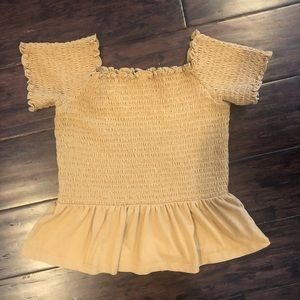 American Eagle Yellow Off the Shoulder Crop Size S